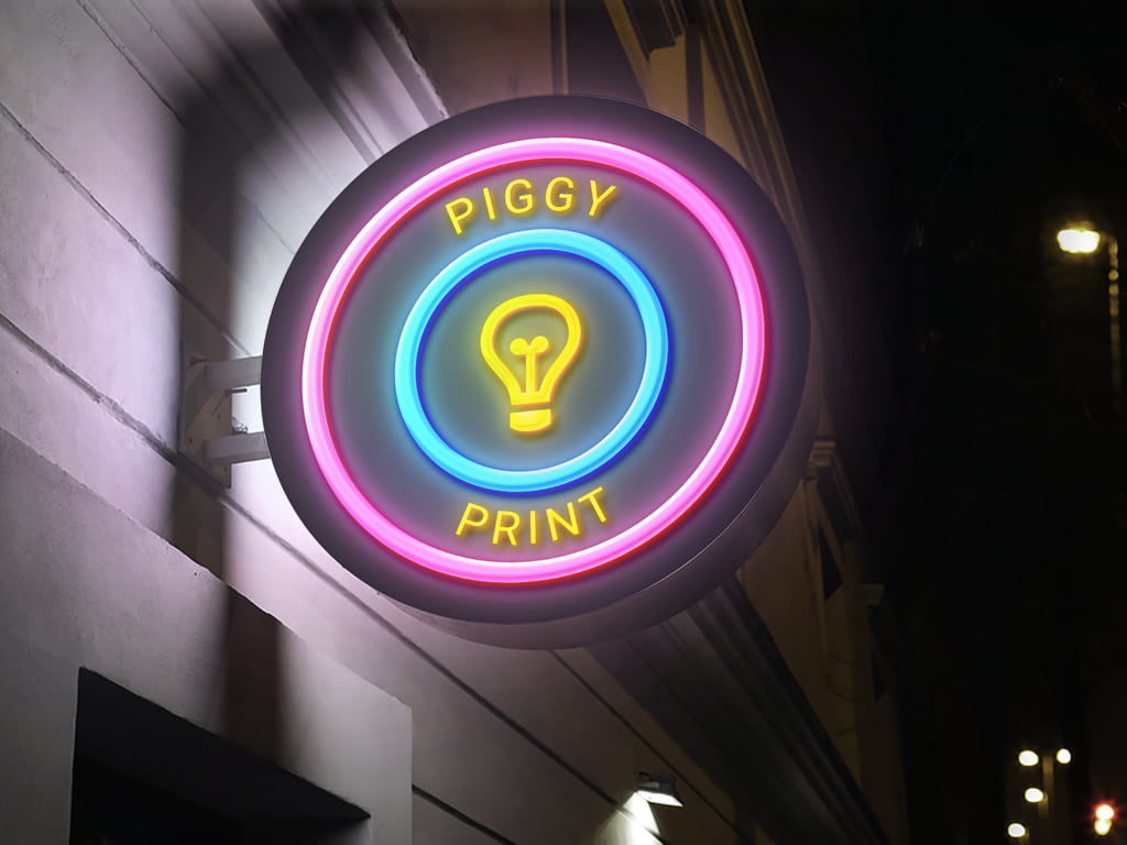 Neon wall mounted business sign