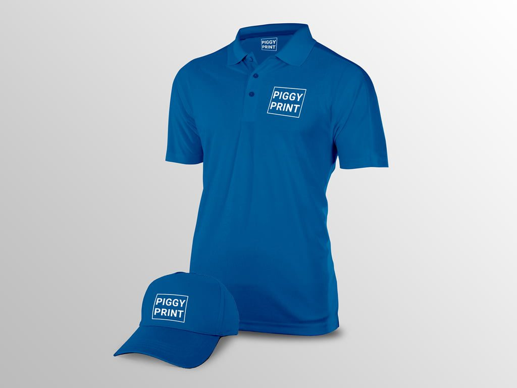 Corporate branded polo shirt & baseball cap