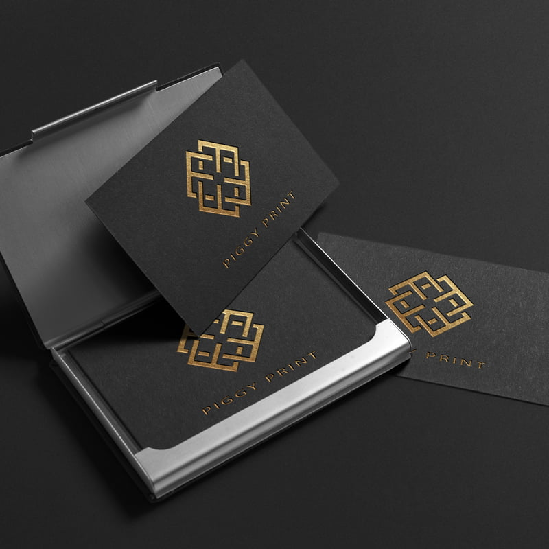 Premium business cards with gold embossed writing
