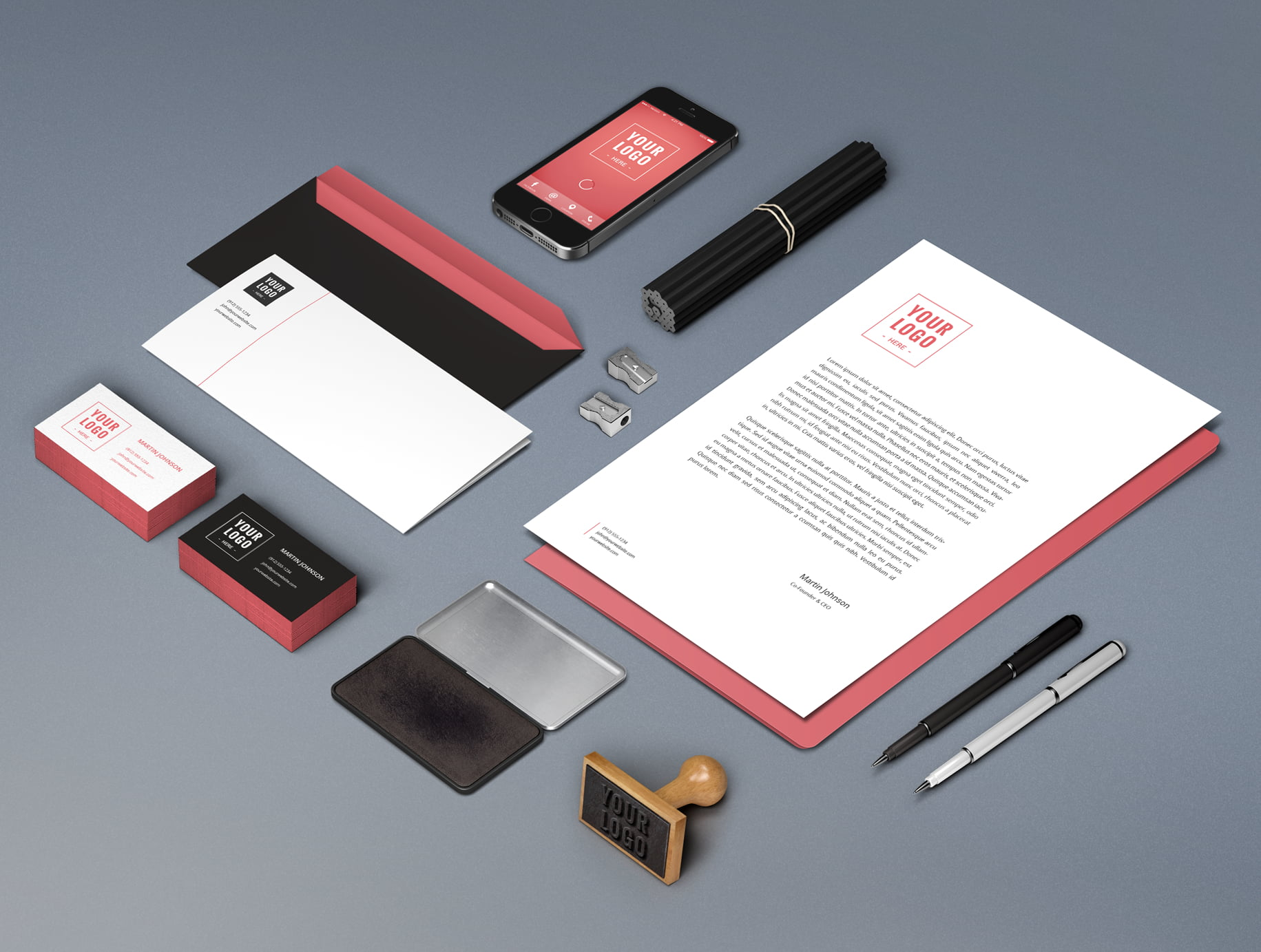 Tight selection of relative branded stationery laid out