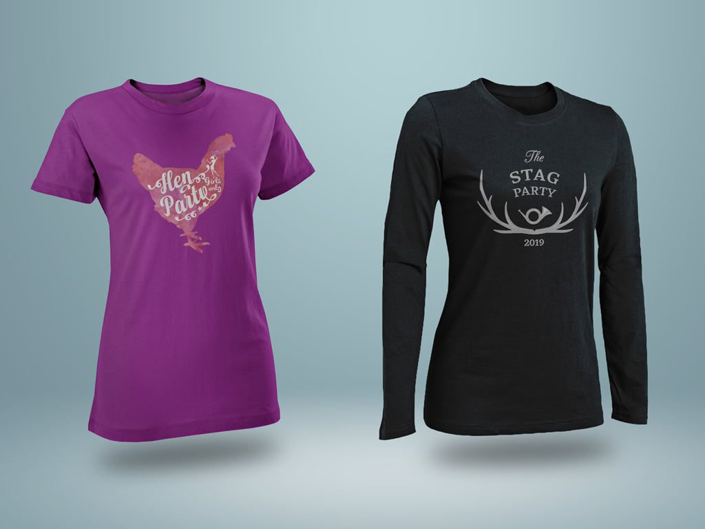 Stag & hen party printed t-shirts